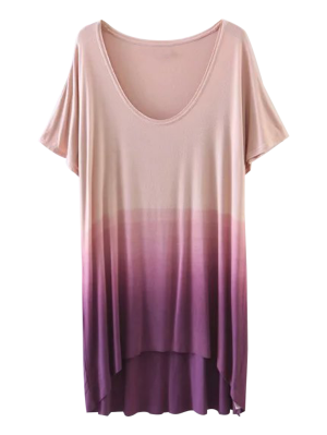 Ombre High Low T-Shirt - Purple