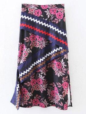 Asymmetric Print Slit Midi Skirt - Black
