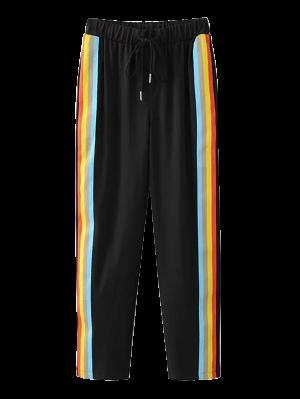 Pantalones Del Bloque Del Color Del Lazo - Negro