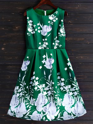 Floral Fit And Flare Midi Dress - Light Green