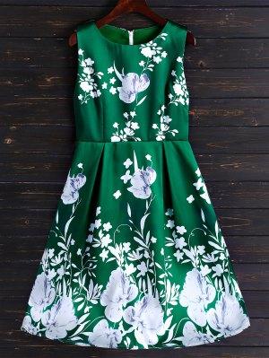 Fit Floral Y De La Llamarada Vestido A Media Pierna - Verde Clara