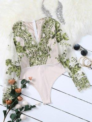 Long Sleeve Sequins Bodysuit
