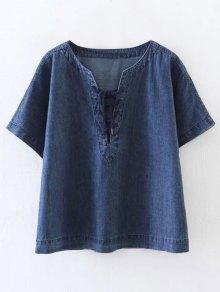 Lace-Up Denim T-Shirt - Blue L