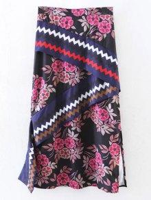 Asymmetric Print Slit Midi Skirt