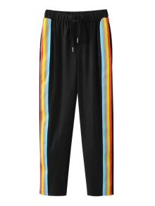 Color Block Drawstring Pants - Black S
