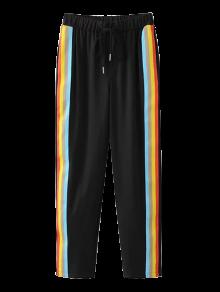 Color Block Drawstring Pants - Black
