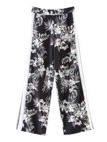 Chiffon Floral Wide Leg Pants - Black M