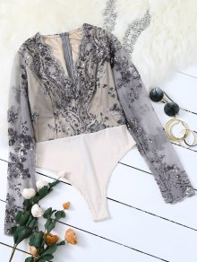 Long Sleeve Sequins Bodysuit - Gray