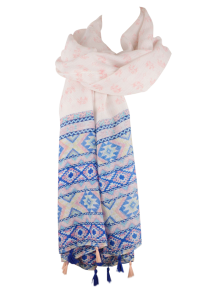 Indian Elephants Print Tassel Pashmina Scarf