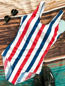 Lace Up Stripes Swimwear - Blue And Red