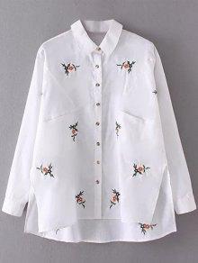 Flower Embroidered Asymmetric Linen Shirt