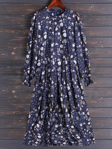 Bohemian Printed Chiffon Maxi Dress - L