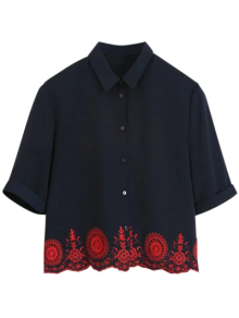 Embroidered Hollow Out Scalloped Shirt - Purplish Blue S