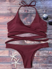 Wrap Tie Crossover Bikini - Burgundy