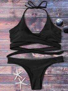 Wrap Tie Crossover Bikini - Black S