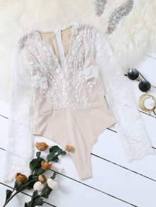 Long Sleeve Sequins Bodysuit - White S