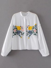Floral Embroidered Lantern Sleeve Shirt - White M