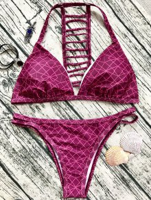 Ladder Back V String Bikini - Wine Red L