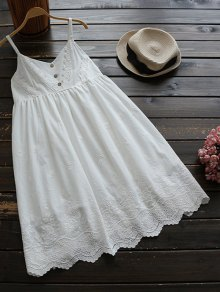 Embroidered Smock Babydoll Dress