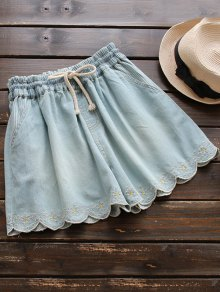 Elasticated Embroidered Denim Shorts - Light Blue