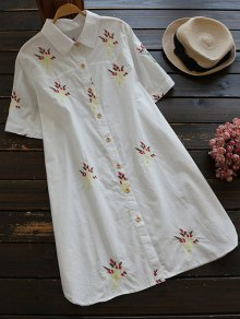 Embroidered Cotton Shirt Dress - White