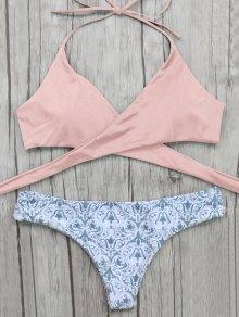 Wrap Bikini Top And Baroque Bottoms - Pink