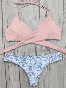 Wrap Bikini Top And Baroque Bottoms - Pink S