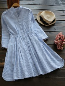 Striped Linen Blend Shirt Dress - Blue And White L