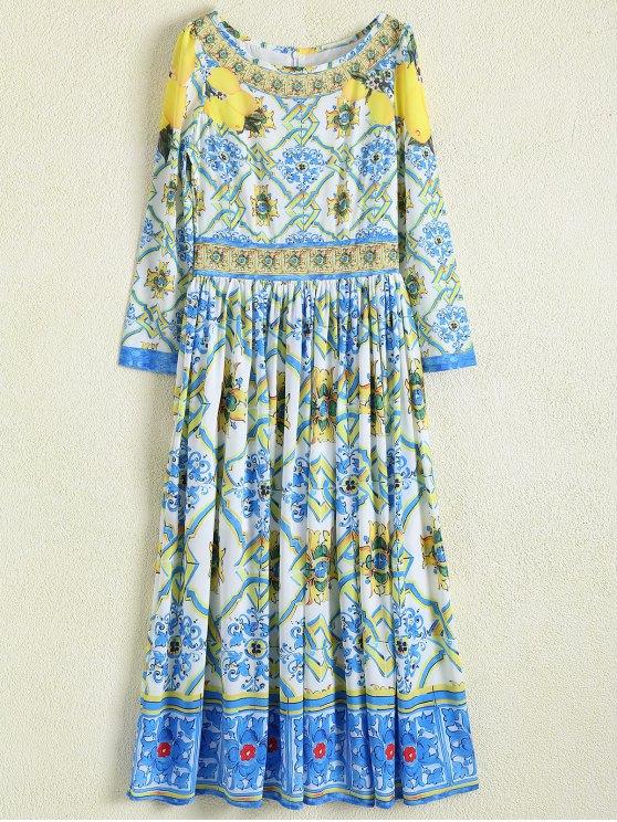 trendy A Line Retro Print Maxi Dress - FLORAL XL