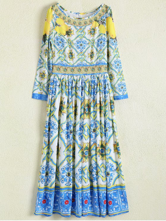 Una línea de impresión retro del vestido maxi - Floral L