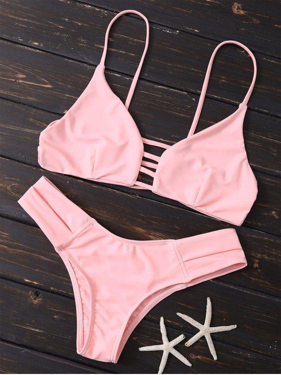 Caged Bandage Bikini Swimwear - SHALLOW PINK M Mobile