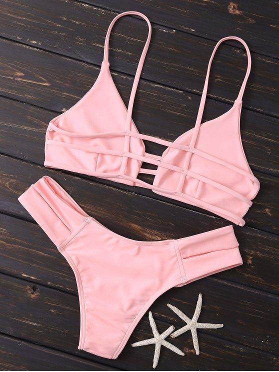 Caged Bandage Bikini Swimwear - SHALLOW PINK S Mobile