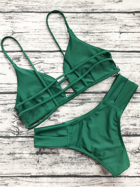 Caged Bandage Bikini Swimwear - GREEN XL Mobile