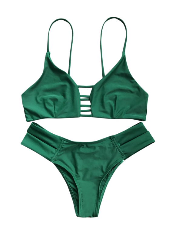 Caged Bandage Bikini Swimwear - GREEN L Mobile