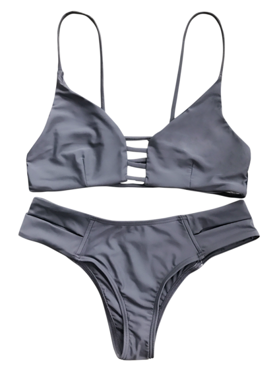 Caged Bandage Bikini Swimwear - GRAY S Mobile