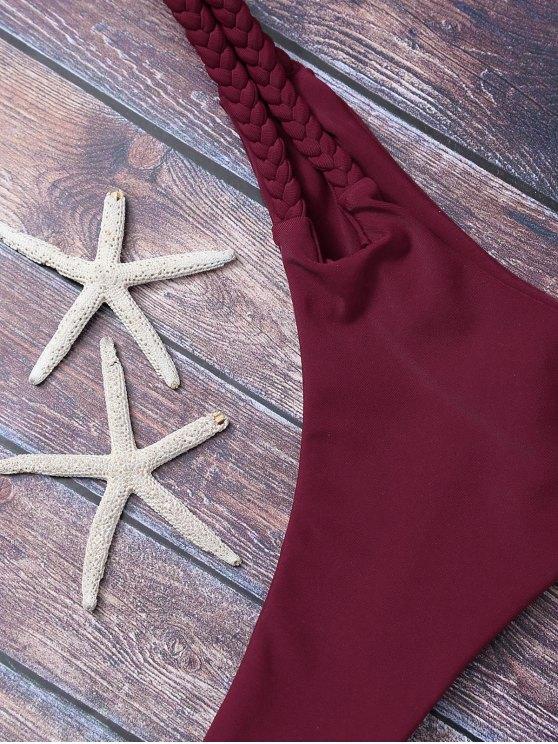 Braided Soft Pad Thong Bikini - BURGUNDY S Mobile