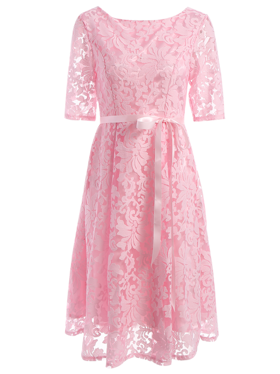 lady Embroidered Lace Knee Length Swing Dress - PINK S