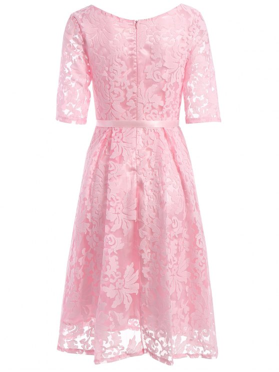 Embroidered Lace Knee Length Swing Dress - PINK S Mobile