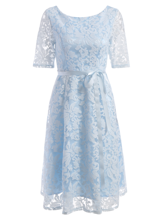 Embroidered Lace Knee Length Swing Dress - LIGHT BLUE M Mobile