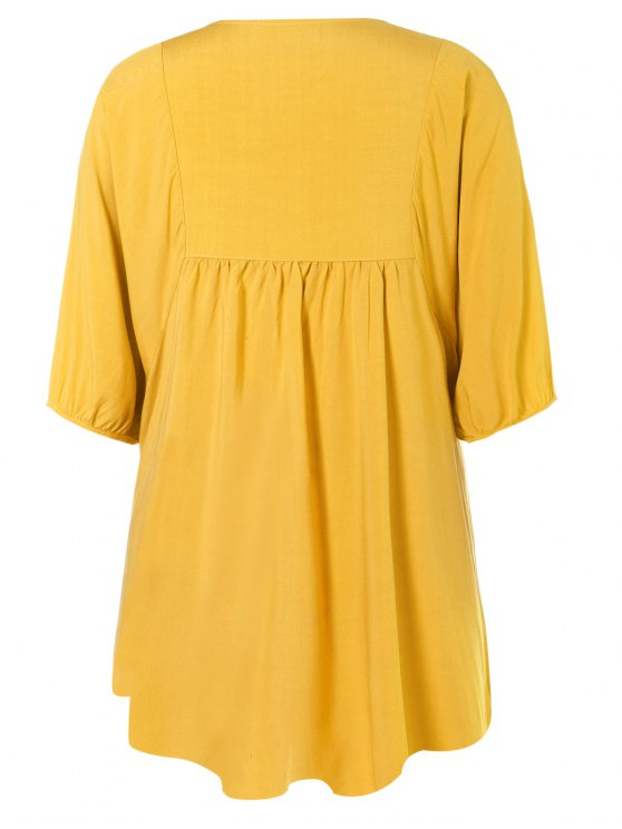 Floral Embroidered Bib Tunic Dress - YELLOW ONE SIZE Mobile