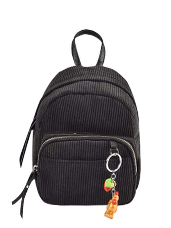 best Corduroy Backpack with Pendant - BLACK