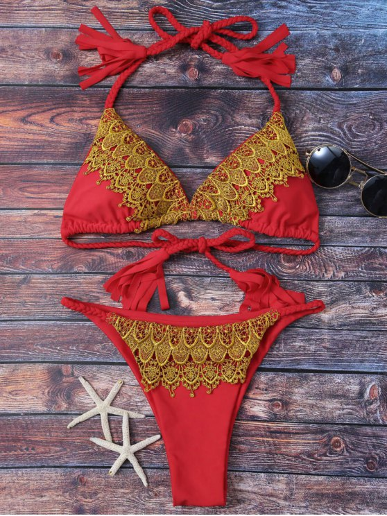 Lace Applique Braided String Bikini - RED S Mobile