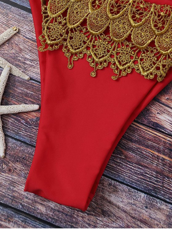 Lace Applique Braided String Bikini - RED S Mobile