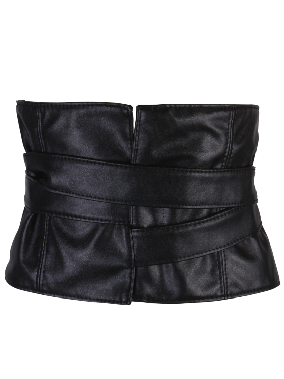 Adjustable Strappy PU Leather Corset Belt - BLACK  Mobile