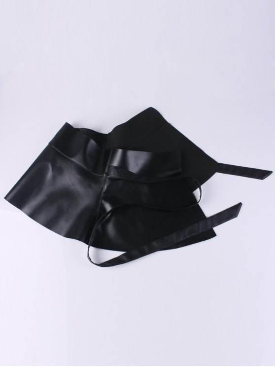 Bowknot Long Tail PU Leather Peplum Belt - BLACK  Mobile