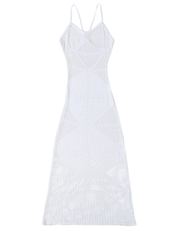 Slip Crochet Backless Maxi Cover Up - WHITE ONE SIZE Mobile