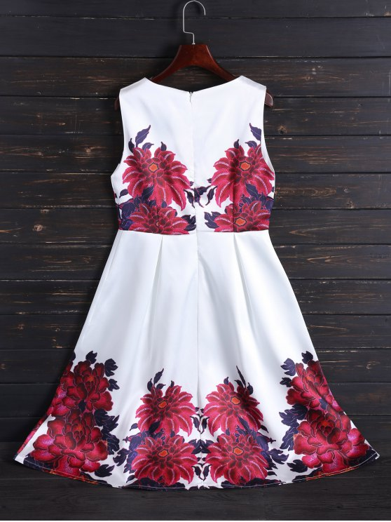Sleeveless Flower Fit and Flare Dress - WHITE S Mobile