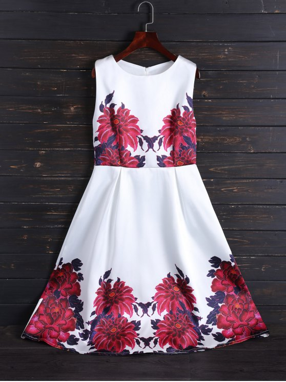 Sleeveless Flower Fit And Flare Dress - White