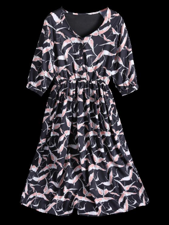 Printed V Neck Chiffon Midi Dress - BLACK M Mobile