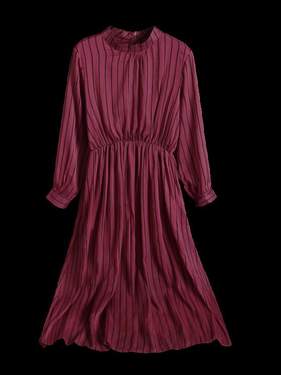 Chiffon Striped Midi Dress - RED M Mobile